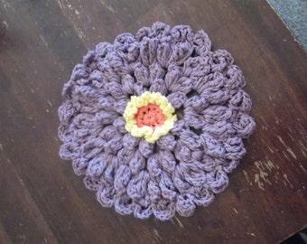 Hand crocheted zinnia flower cotton dishcloth kitchen