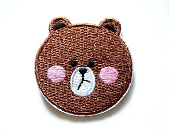 Line Brown Bear Iron On Patch