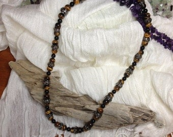 Tigereye and Black Tourmaline Necklace