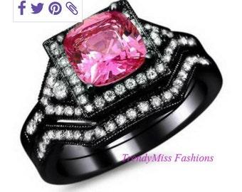 10K Blakc Gold Filled Pink Wedding Ring Set