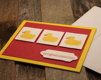 Red and Yellow Card, New Baby Card, Congratulations Card, Baby Card, Duck Baby Card, Baby, Ducks, Congratulations