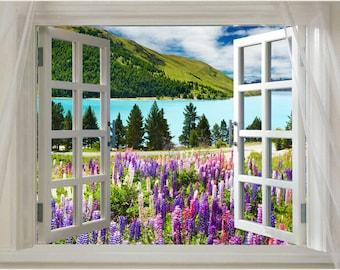 Window Onto Lovely Lavender Mountain Scenic Poster 24x36 Purple Fields