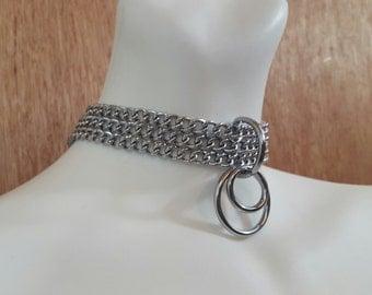 Chrome chain choker, Chain collar, Lovers Necklace, Goth Collar, punk,