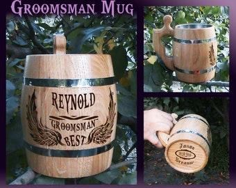 Wedding Gift For Groomsman/Groomsmen Gift/Wood Beer Mug/Will You Be My Groomsman/Be In My Wedding Groomsman/Groomsman Gifts/Wooden Beer Mug