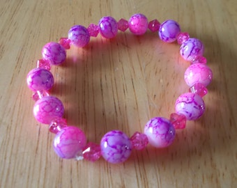 Pink and purple stretchy bracelet