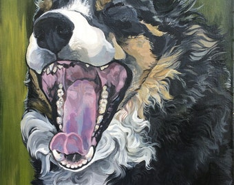 Unique custom pet portrait from photo in acrylic on stretched canvas
