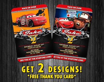 Disney Cars Inspired Birthday Party Invitation Cards - DIGITAL FILES