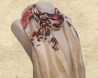 Womens scarf shawl, Beige wide scarves, Cream large shawl, Leopard print scarf, Silky touch scarf, Lightweight scarf, Wide beach wrap