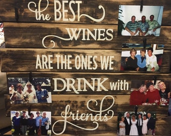 wines with friends rustic sign, wood pallet sign, wine sign, wine photo sign, wood wine sign, rustic winery decor