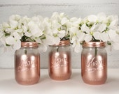 3 Clear Partial Metallic Painted Pint Mason Jar Flower Vases-Country Decor-Cottage Chic-Shabby Chic-French Chic