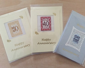 Cross stitch anniversary cards