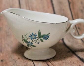 Blue Flower Creamer-Antique creamer-vintage creamer/gravyboat-aqua flowers dishware-blue floral creamer