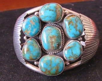 Sterling 7 Stone Turquoise Sterling Silver Native American Style Cuff Bracelet