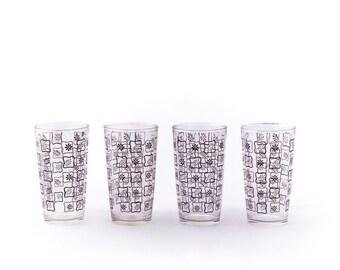 Set of 4 Floral Glasses