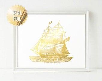 Nautical Print - Old Ship in Metallic Foil - Real Gold Foil Print - Nautical Ship Art - Nautical Decor - Boat Illustration - Brig Ship