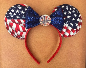 American Flag Stars and Stripes 4th of July Patriotic Minnie Mouse Ears