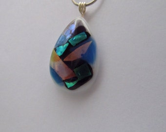 Black and Blue Dichroic Fused Glass Pendant