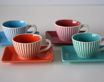 4 Cute Striped Vintage Espresso Cups and Saucers Distributed by LBVYR = Laboratoire Biology Vegetale Yves Rocher .