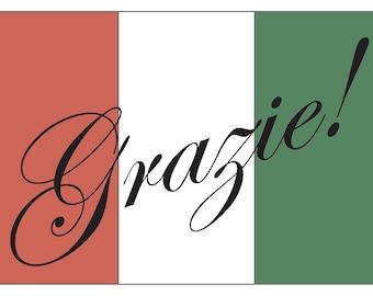 Italian Thank You 3.5x5 Foldover Notecard
