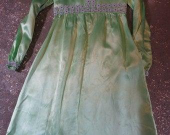 Vintage Dress - Lime Green Satin and Sparkle