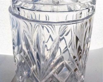 Cut glass jar with lid