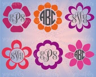 Flower Circle Monogram Frame SVG - SVG Cut File - Cricut, Silhouette Studio cutting file, Instant Download