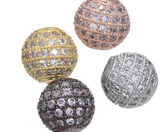 High Quality Bulk 5 Micro Pave CZ Cubic Zirconia Beads 10mm