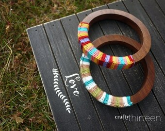 Thread wood bangle