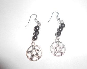 Hematite earrings w/pentacle Reiki infused