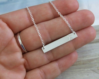 Side Bar Necklace, Sterling Silver Necklace, Hand Stamped Initial, WaterProof Necklace, Simple Modern Necklace, Bar Jewelry, Personalized