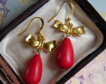 Earrings - coral - drops