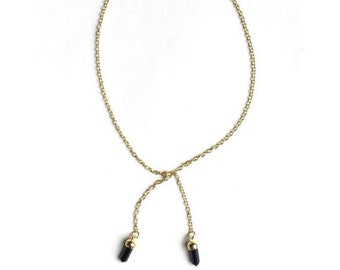 Crystal Pendant Lariat Tie Necklace