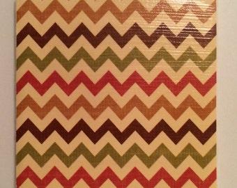 Chevron Tile/Chevron Decorative Tile/Chevron Coaster/Chevron/Tile/Coaster/Handmade/Autumn/Patterned Tile/Patterned Coaster/Chevron Pattern