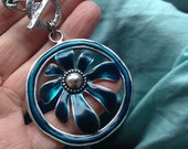 Blue daisy necklace-floral jewelry