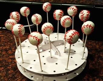 Baseball cake pops, softball cake pops, chocolate covered