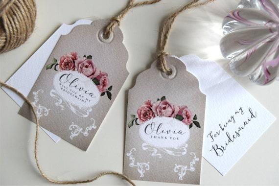 Personalised Bridesmaid Tags/Cards and Bridal Party Tags