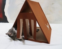 Felt cat house ,Modern cat furniture,Triangle cat house, Brown Cat teepee, Cat cave, Cat bed