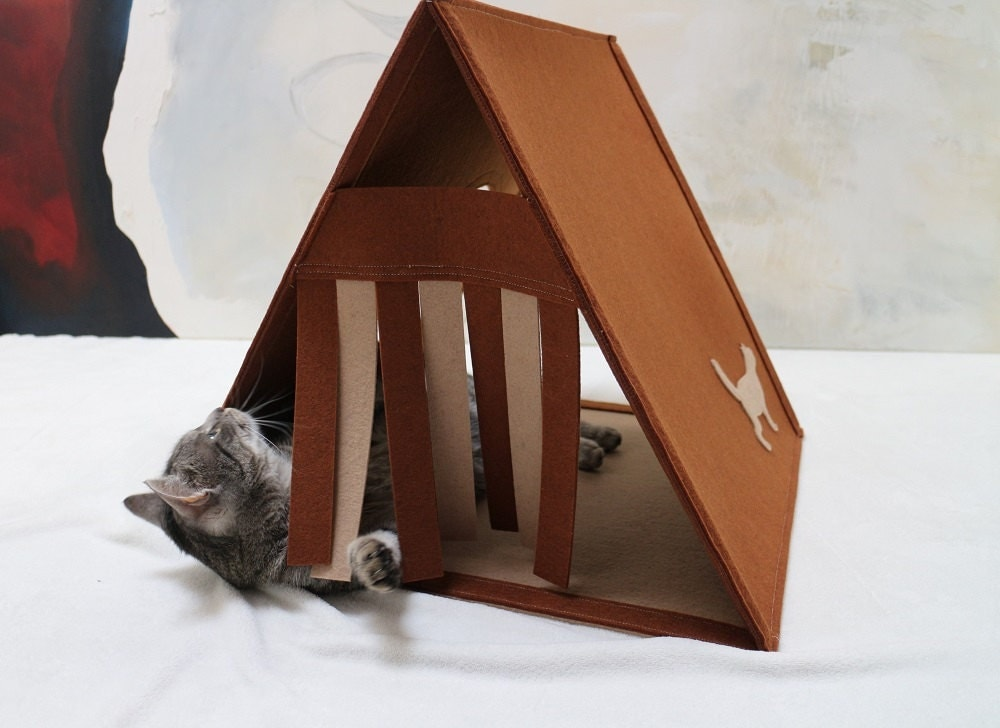 Felt Cat House Modern Cat Furnituretriangle Cat House Brown