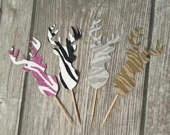 Zebra Glitter Deer Cupcake Picks 12ct