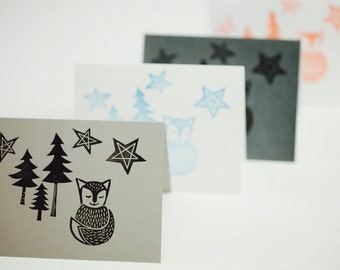 Starry Starry Fox Cards Fox Stationary Animal Stationary Forrest Stationary Woodland Stationary White Red Blue Gray Silver Greeting Cards