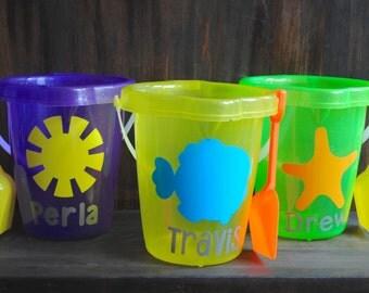 Personalized Glitter Beach Bucket/ Monogrammed Glitter Pail