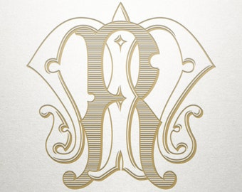 Custom Vintage Monogram -  MR RM - Vintage Monogram - Digital
