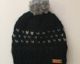 Black and Grey Fair Isle Knit Beanie with Pom - 100% Wool