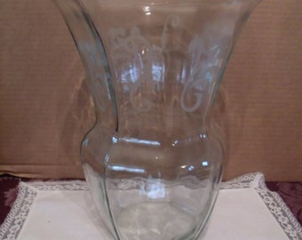 large Clear Glass Vase, with etched Design, (# 134/9)