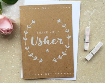Rustic Usher Thank You Card