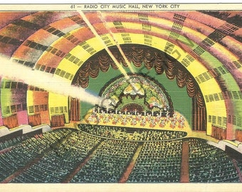 Four New York City, Radio City Music Hall postcards from 1930s and 1940s