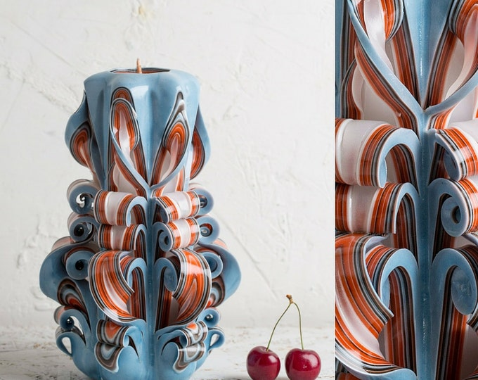 Orange Blue Sky big candles, Unusual gifts for men, Carved candles, Vanity lighting, Decorative candles, Unusual gifts for women, Candels
