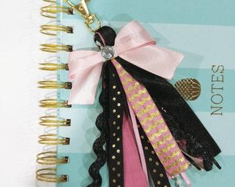 Pink and Black Planner Tassel Keychain