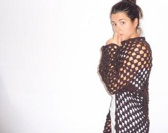 Openwork crochet jacket