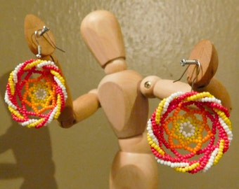 Beautiful and Unique Huichol Mexican Dreamcatcher Swirl Earrings